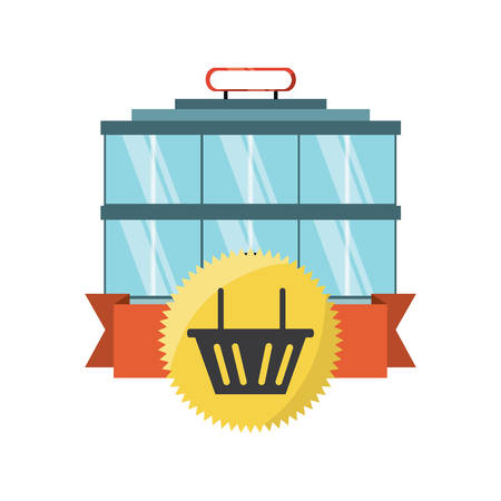 supermarket building with seal stamp with shopping basket icon over white background colorful design vector illustration