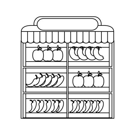 Supermarket shelves with fruits and vegetables icon.