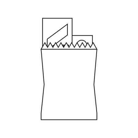 Paper bag with supermarket products icon over white background, vector illustration.