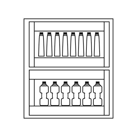 Supermarket shelves with bottles products over white background, vector illustration.