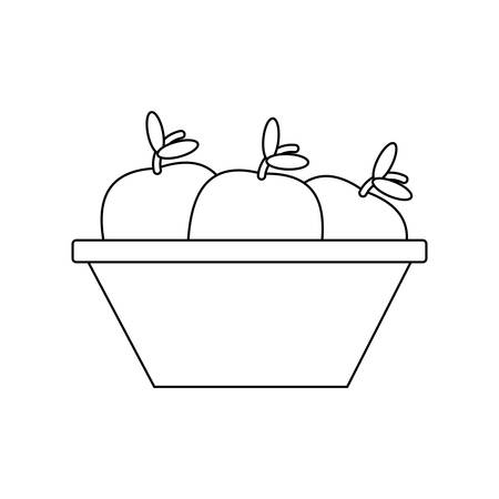 Bowl with fruits icon over white background, vector illustration.