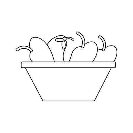 bowl with fruits icon over white background vector illustration