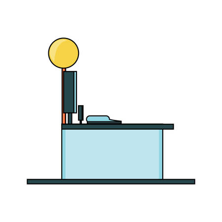 supermarket counter and cash register icon over white background colorful design vector illustration Ilustracja