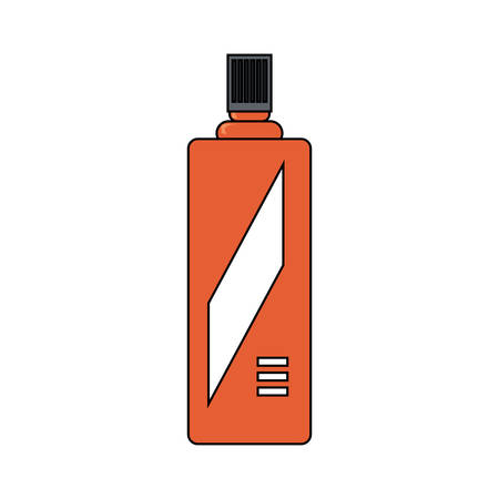 Red spray bottle icon over white background vector illustration Çizim