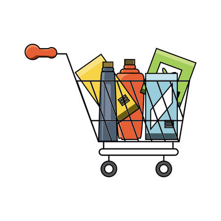 Supermarket cart with bottles products over white background. Colorful design, vector illustration.
