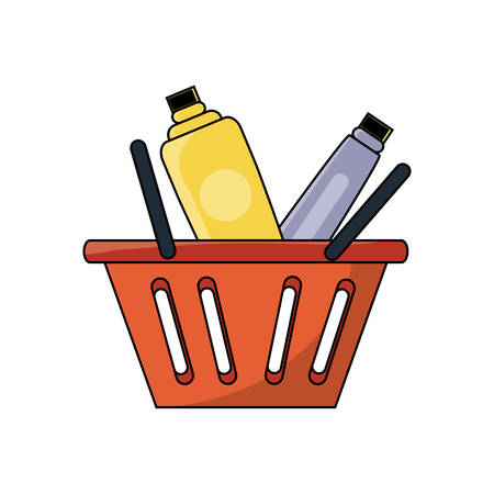 Shopping basket with supermarket products over white background. Colorful design, vector illustration.