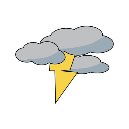 clouds with thunder icon over white background colorful design  vector illustration Çizim