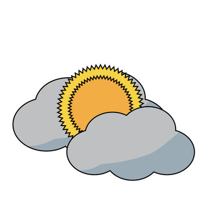 sun and cloud icon over white background colorful design vector illustration