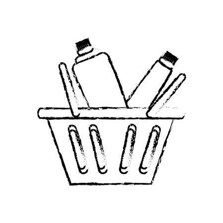 sketch of shopping basket with supermarket products over white background vector illustration