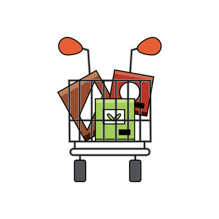 shopping cart with supermarket products over white background vector illustration