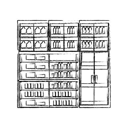 Supermarket  refrigerator shelves with products icon over white background vector illustration  イラスト・ベクター素材