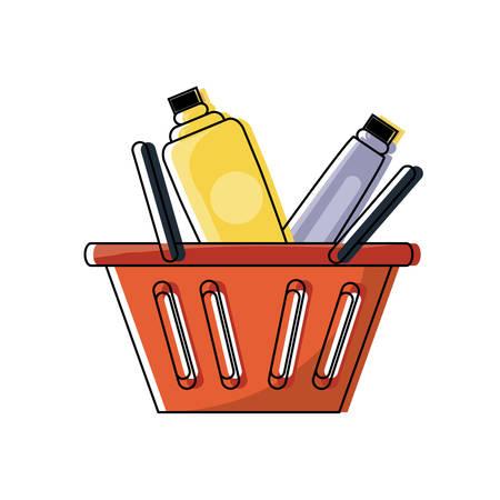 shopping basket with supermarket products over white background colorful design vector illustration Illustration