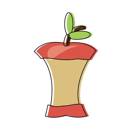 Bitten Apple icon over white background colorful design vector illustration