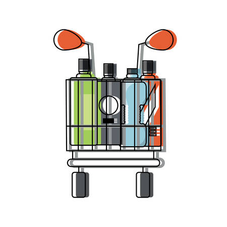 supermarket cart with bottles products over white background colorful design vector illustration