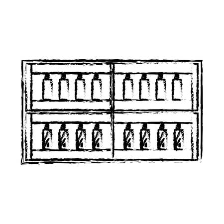 sketch of supermarket shelves with bottles products over white background vector illustration