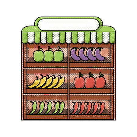 supermarket shelves with fruits and vegetables icon over white background colorful design vector illustration Illustration