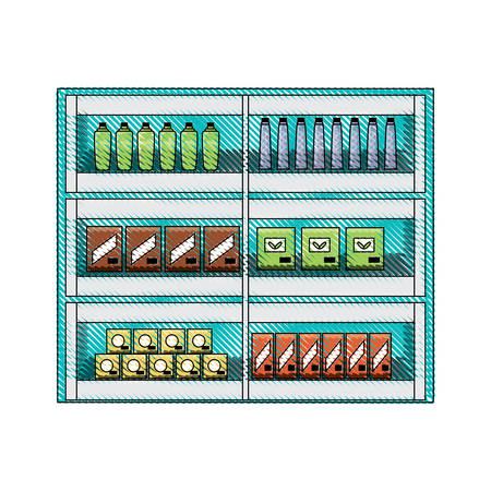 Supermarket shelf with different products icon.  イラスト・ベクター素材