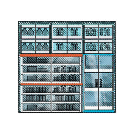 Supermarket  refrigerator shelves with products icon over white background colorful design vector illustration