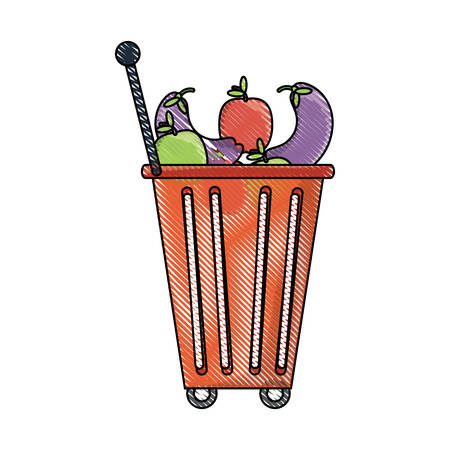 shopping rolling basket with vegetables and fruits icon over white background colorful design vector illustration