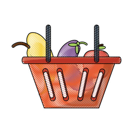 shopping basket with vegetables and fruits icon over white background colorful design vector illustration