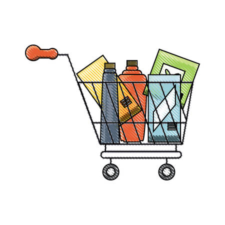 Supermarket cart with bottle products over white background colorful design vector illustration