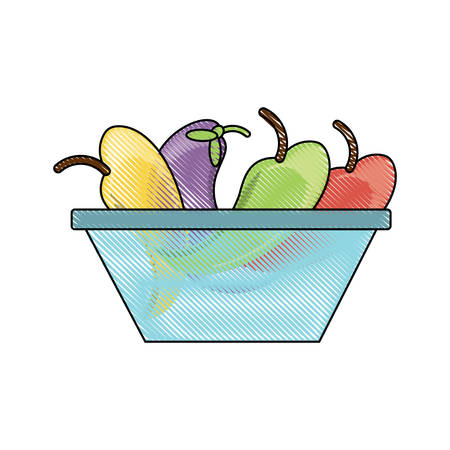 bowl with fruits icon over white background colorful design vector illustration