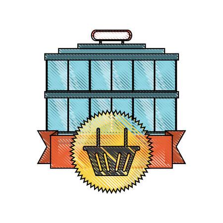 supermarket building icon Illustration