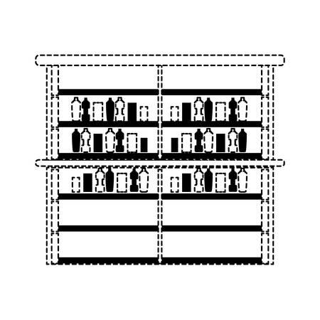 concetto di design di scaffali del supermercato Vettoriali