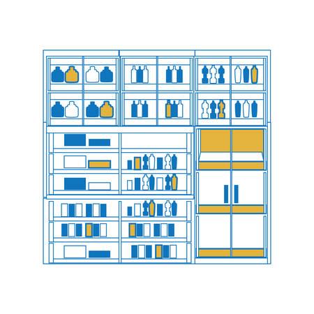 Supermarket shelves design concept.