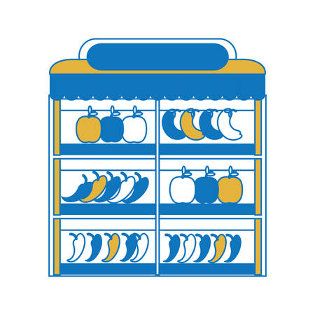 supermarket shelves with fruits and vegetables icon over white background colorful design vector illustration  イラスト・ベクター素材