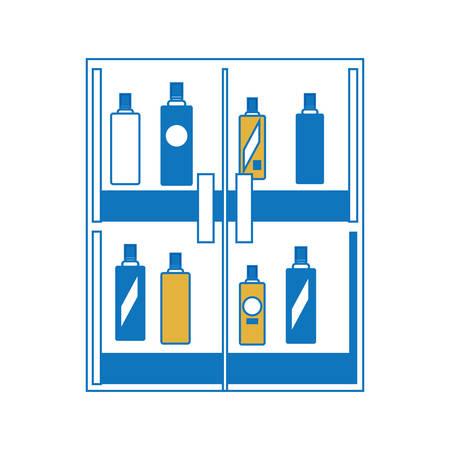 supermarket shelves with bottles products over white background colorful design vector illustration