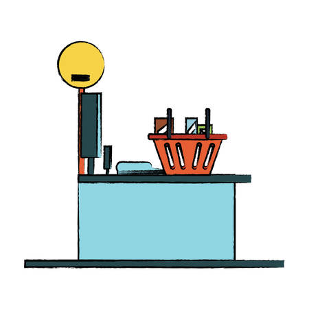 Supermarket cash register an counter with shopping basket icon. Illustration