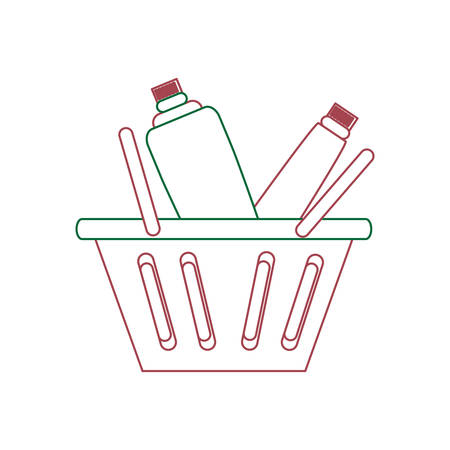 A shopping basket with supermarket products over white background colorful design vector illustration Illustration