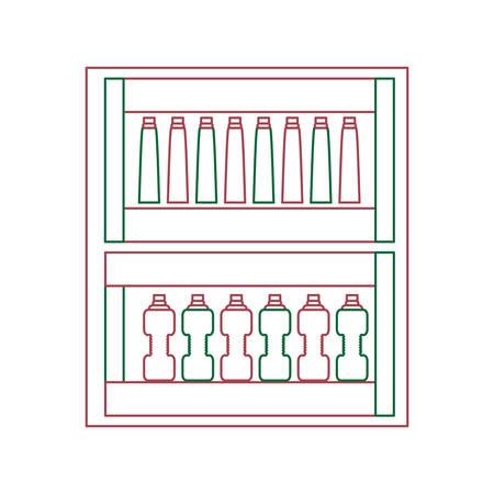 Supermarket shelves with bottles products over white background colorful design vector illustration  イラスト・ベクター素材