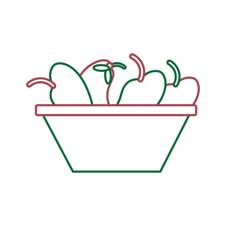 A bowl with fruits icon over white background vector illustration