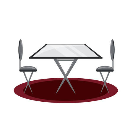 A dining table and chairs icon over white background colorful design vector illustration Illustration