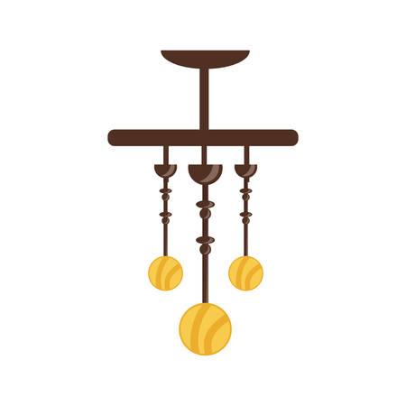 pendant lamp icon over white background colorful design vector illustration