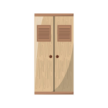 wooden wardrobe with doors closed icon over white background colorful design vector illustration Ilustração