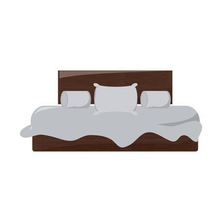 Double bed with pillows and cushions over white background colorful design vector illustration