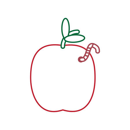apple with a worm icon over white background colorful design vector illustration
