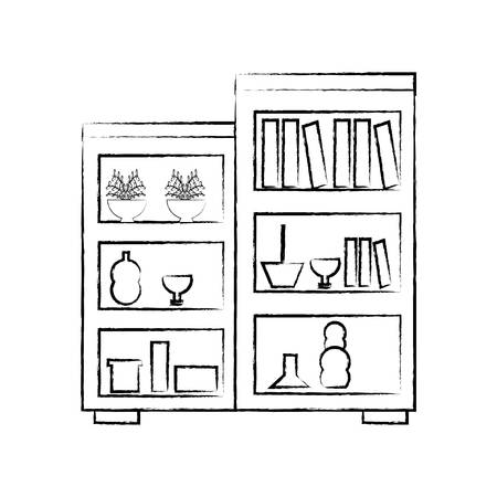 sketch of Shelves Unit with decorative objects and books over white background vector illustration Illustration