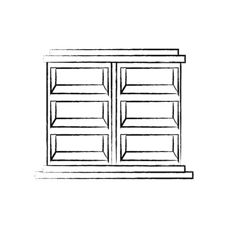 sketch of empty shelves unit icon over white background vector illustration Illusztráció