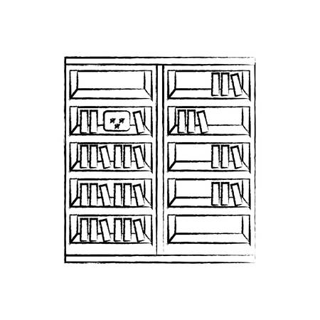 Sketch Of Bookshelf With Books Icon Over White Background Vector Illusstration Stock
