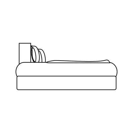 side view of bed with pillows, icon over white background .vector illustration Vettoriali