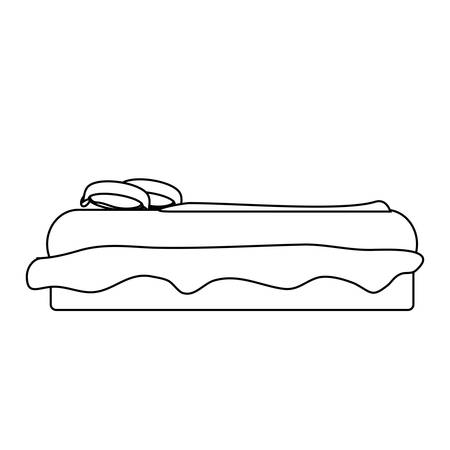 Side view of bed with pillows icon over white illustration. Illustration