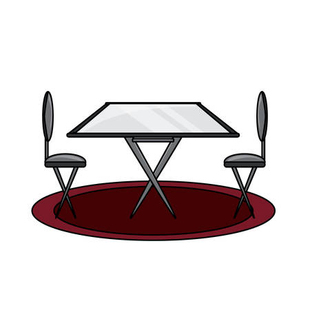 dining table and chairs icon over white background colorful design vector illustration