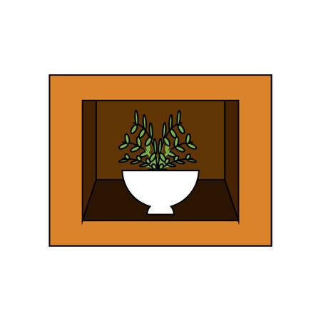 Shelf with decorative plant icon over white illustration. Illustration