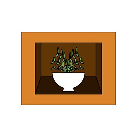 Shelf with decorative plant icon over white illustration. Illusztráció