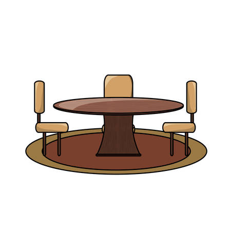 Dining table and chairs icon over white illustration. Illustration