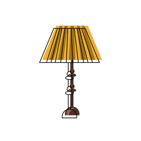 Table lamp icon over white illustration.